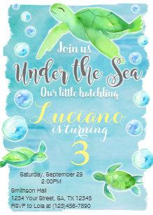 Sea turtle invitations zazzle sea turtle birthday invitation filmwisefo