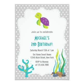 "Sea Turtle Birthday Party Invitation 5"" X 7"" Invitation Card"