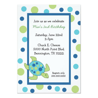 Sea Turtle Birthday Party Invite Blue Green Dots