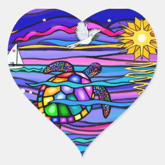 Sea Turtle (blue / pink) Heart Sticker