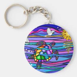 Sea Turtle (blue / pink) Keychain