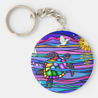 Sea Turtle (blue / pink) Keychain
