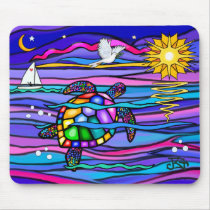 Sea Turtle (blue / pink) Mouse Pad