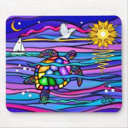 Sea Turtle (blue / pink) Mouse Pad