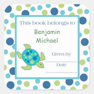 Sea Turtle Bookplate Label Blue Green Dot