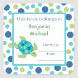Sea Turtle Bookplate Label Blue Green Dot Square Sticker