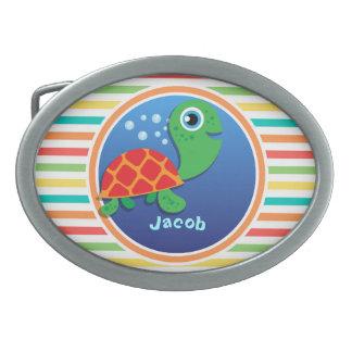 Sea Turtle; Bright Rainbow Stripes Oval Belt Buckle