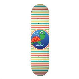 Sea Turtle; Bright Rainbow Stripes Skate Decks