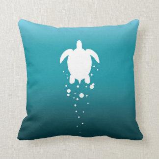 Sea Turtle & Bubbles Against Blue-Green Ocean Throw Pillow