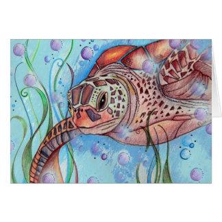 Sea Turtle Buble Design Card
