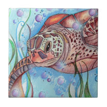 Sea Turtle Buble Design Ceramic Tile