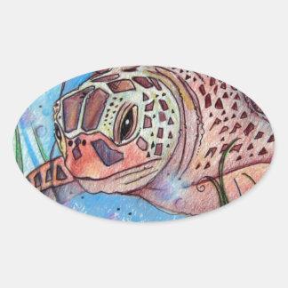 Sea Turtle Buble Design Oval Sticker