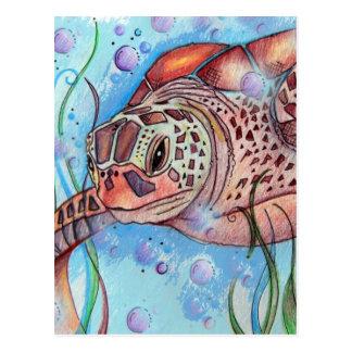 Sea Turtle Buble Design Postcard