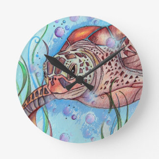 Sea Turtle Buble Design Round Clock