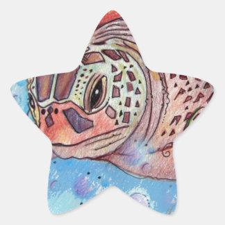 Sea Turtle Buble Design Star Sticker
