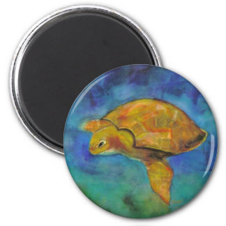 Sea Turtle by Paula Atwell 2 Inch Round Magnet
