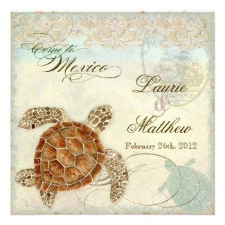 Sea Turtle Coastal Beach - Destination Wedding Invite