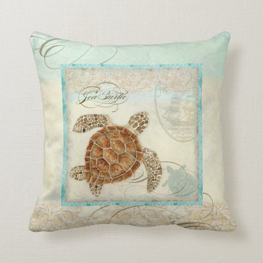 Sea Turtle Coastal Beach Home Decor Pillow Zazzle Com