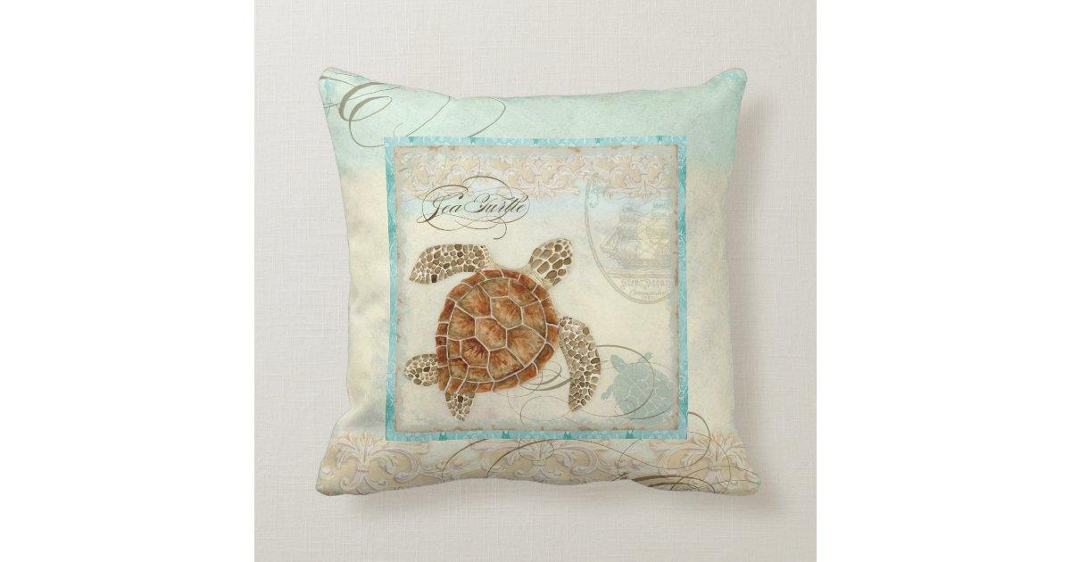 Sea Turtle Coastal Beach Home Decor Pillow Zazzle
