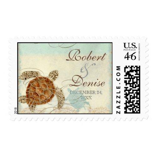 Sea Turtle Coastal Beach - Wedding Postage stamp
