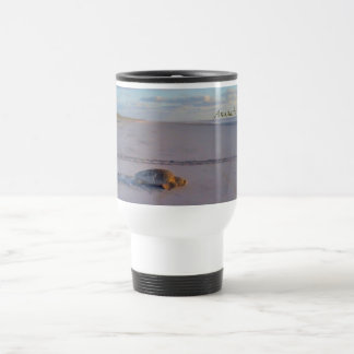 Sea Turtle crawling back to the ocean Travel Mug