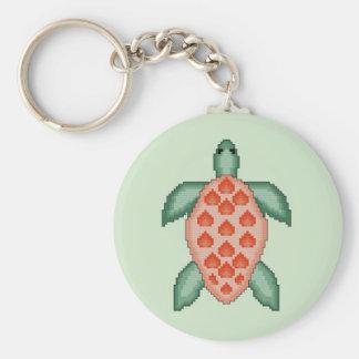 Sea Turtle Cross Stitch Keychain