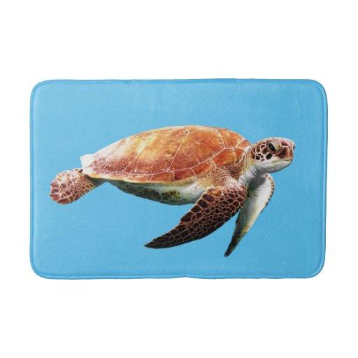 Sea Turtle Custom Color Background Bath Mat Zazzle