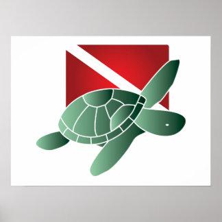 Sea Turtle Dive Flag Poster
