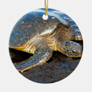 Sea Turtle Double-Sided Ceramic Round Christmas Ornament
