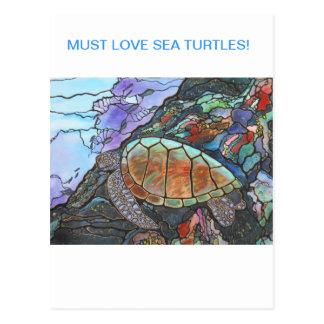 Sea Turtle Fantasy Coral Reef Postcard