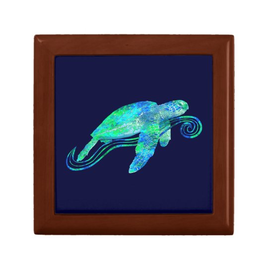 Sea Turtle Graphic Keepsake Box