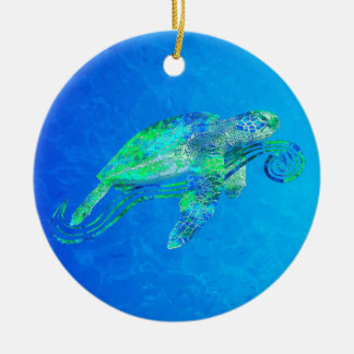 Sea Turtle Graphic Christmas Ornament