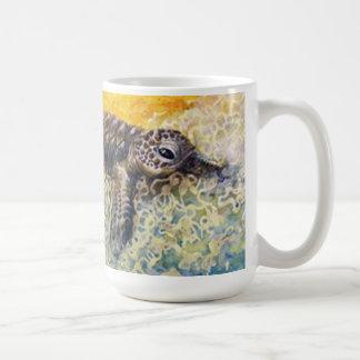 Sea turtle hatchling entering the surf coffee mug