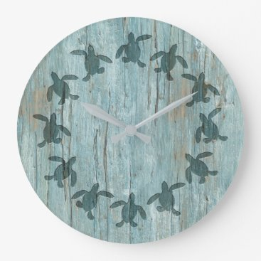 Sea Turtle Hatchling Wood Pattern Wall Clock
