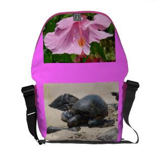 Sea Turtle Hawaiian Flower Courier Bag