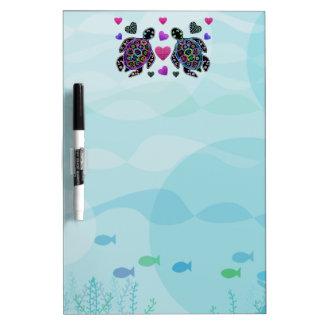Sea Turtle Hearts Dry Erase Board