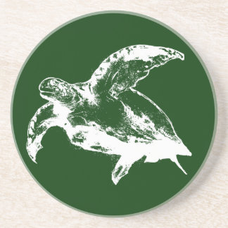 Sea Turtle in White Drink Coaster