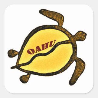 Sea Turtle Island of Oahu Square Sticker