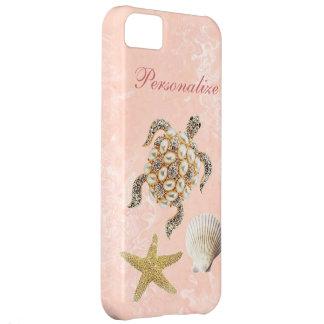 Sea Turtle Jewel Print, Starfish & Sea Shell Cover For iPhone 5C