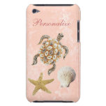 Sea Turtle Jewel Print, Starfish & Sea Shell Barely There iPod Case