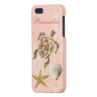 Sea Turtle Jewel Print, Starfish & Sea Shell iPhone 5 Case