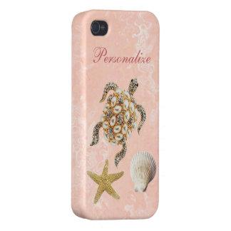 Sea Turtle Jewel Print, Starfish & Sea Shell iPhone 4 Cover
