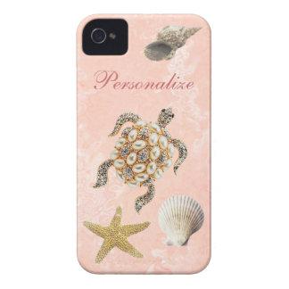 Sea Turtle Jewel Print, Starfish & Sea Shells iPhone 4 Case-Mate Case