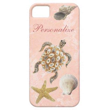 Beach Themed Sea Turtle Jewel Print, Starfish & Sea Shells iPhone SE/5/5s Case
