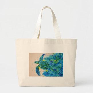 sea turtle large tote bag