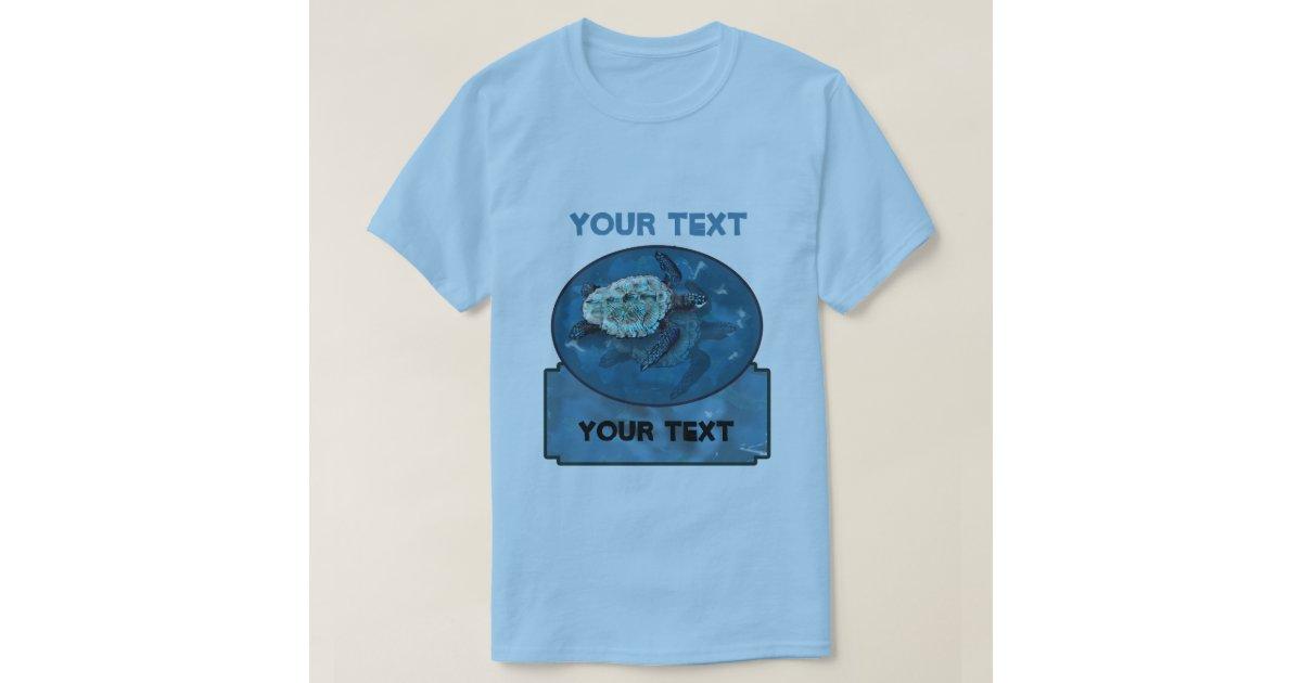 Sea turtle loggerhead blue t shirt template zazzle for Zazzle t shirt template