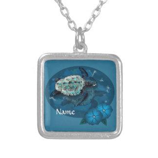 Sea Turtle Loggerhead  Silver Plated Necklace