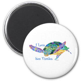 Sea Turtle Love a Turtle 2 Inch Round Magnet