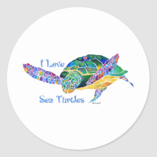 Sea Turtle Love a Turtle Classic Round Sticker