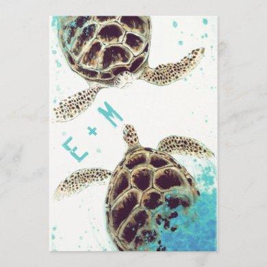 © Sea Turtle Love Aquarium Wedding Invitation